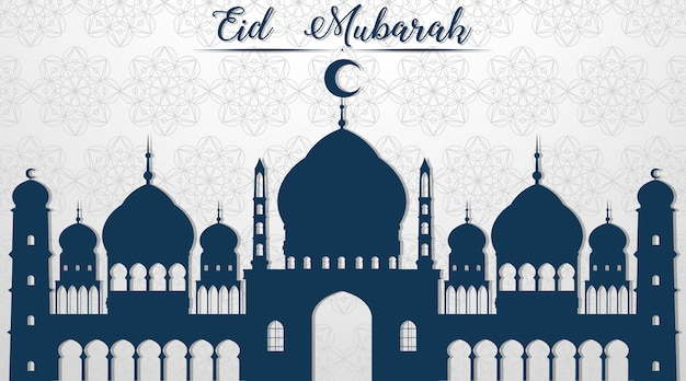 Muslim festival eid mubarak background Free Vector