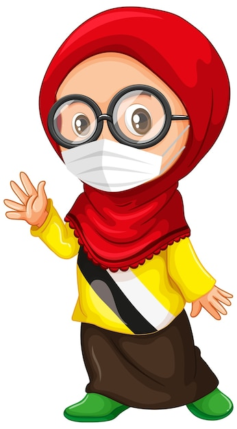 Muslim girl glasses wearing mask Free Vector
