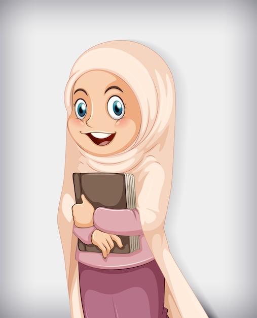 本を持ってイスラム教徒の少女 無料ベクター