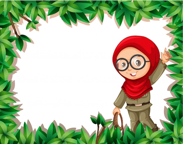 A muslim girl scout on nature frame Free Vector