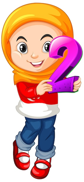 Muslim girl wearing hijab holding math number two Free Vector