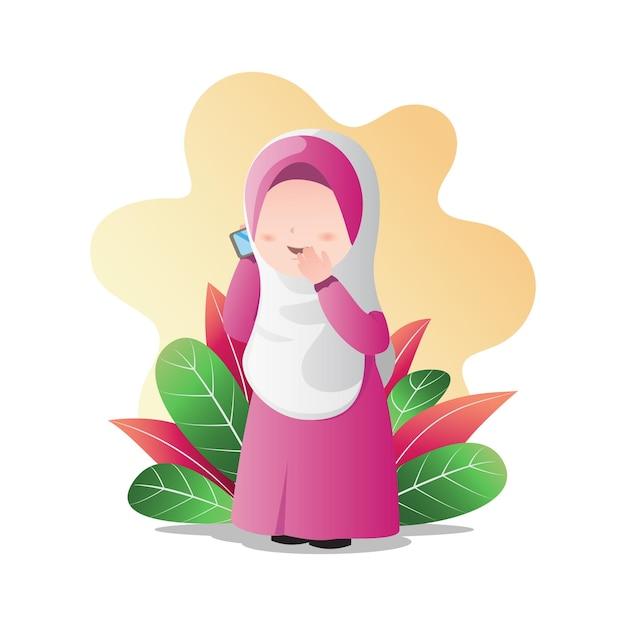 손에 전화 Hijab를 착용, 전화 및 만화 캐릭터를 말하는 이슬람 소녀. 프리미엄 벡터