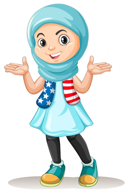Muslim girl with happy face Free Vector