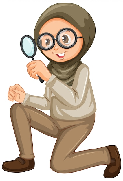 Muslim girl with magnifying glass on white Free Vector