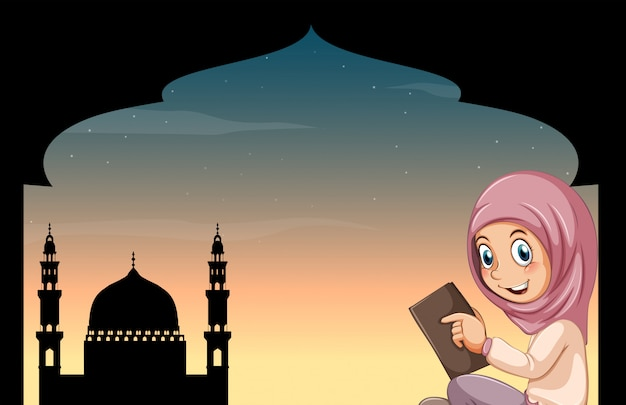 Muslim girl with mosque Free Vector