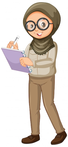Muslim girl writing notes on white Free Vector