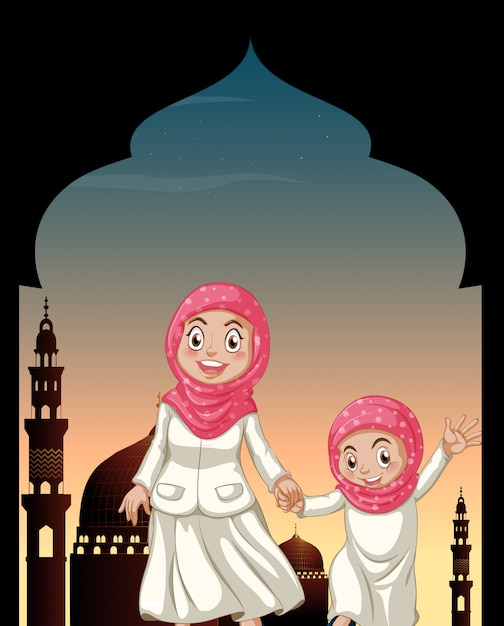 Muslim girls holding hands Free Vector