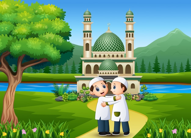 Muslim kid embrace and wishing in front the mosque Premium Vector