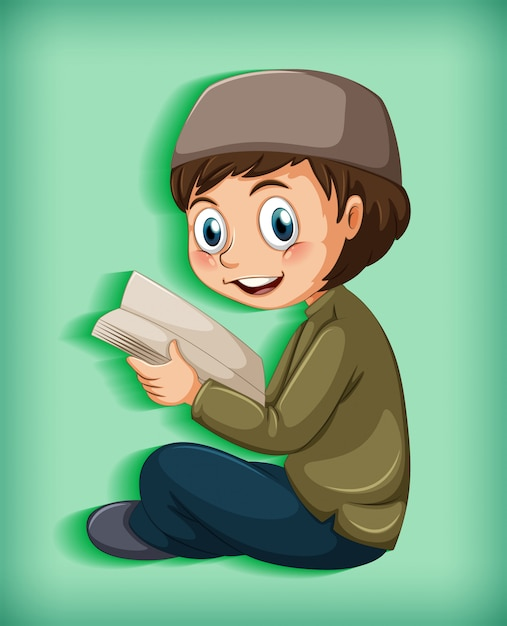 free vector muslim kid reading books free vector muslim kid reading books