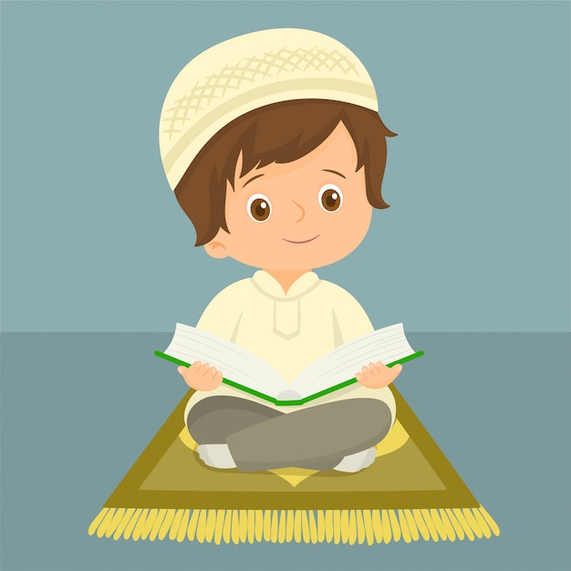 premium vector muslim kid reading quran https www freepik com profile preagreement getstarted 5609383