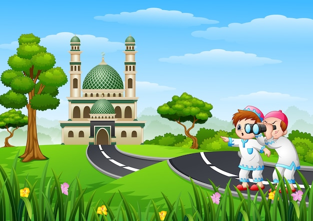 Muslim kids cartoon in the street with a binoculars Premium Vector