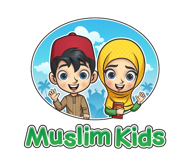 Muslim kids illustration Premium Vector