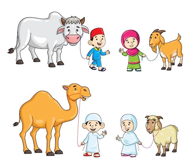 Мусульманские дети с мультфильмом верблюдов, коров, коз и овец Premium векторы