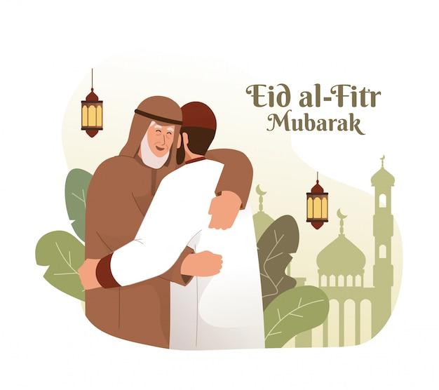 イスラム教徒の男性が抱き合って、お互いを願っています。 eid al-fitrムバラクフラット漫画キャライラスト Premiumベクター