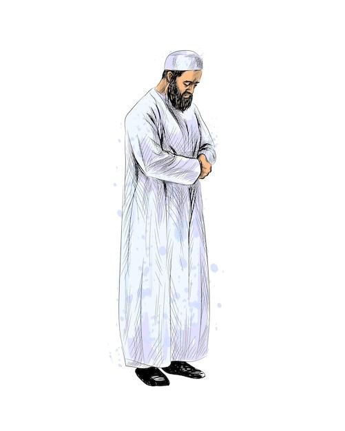祈るイスラム教徒の男性、手描きのスケッチ。図 Premiumベクター