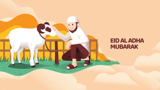 Muslim man sit with sacrifice animal goat or sheep for eid al adha mubarak celebration Premium Vector