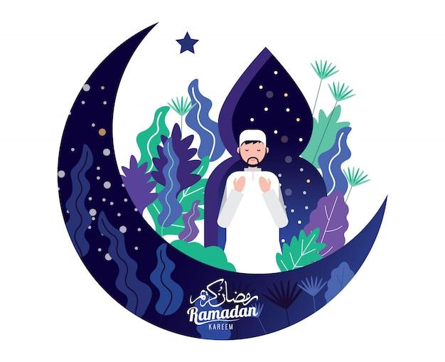 Muslim man in traditional outfit prayer for holy month of ramadan kareem. Premium Vector