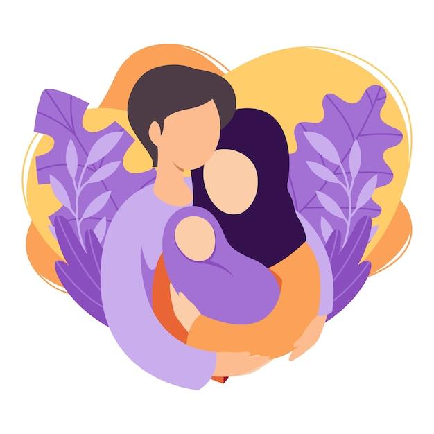Мусульманские мать и отец, держа их новорожденного ребенка. исламская пара мужа и жены становятся родителями. мужчина обнимает женщину с ребенком. материнство, отцовство, воспитание детей. плоская иллюстрация. Premium векторы