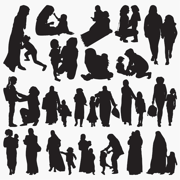 Muslim mother and child silhouettes set Premium Vector
