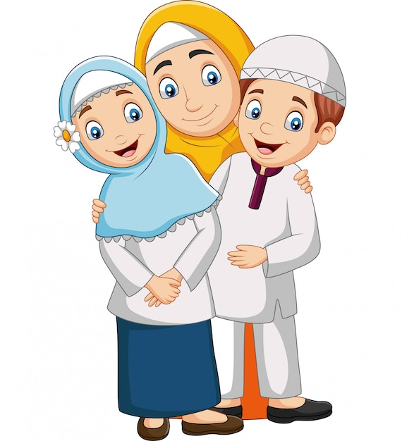 Muslim mother with son and daughter Premium Vector