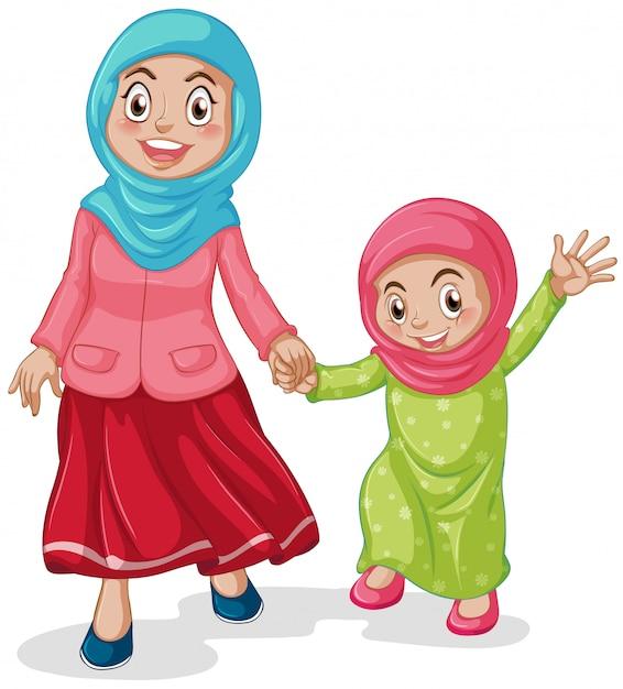 Muslim mum with her daughter Free Vector
