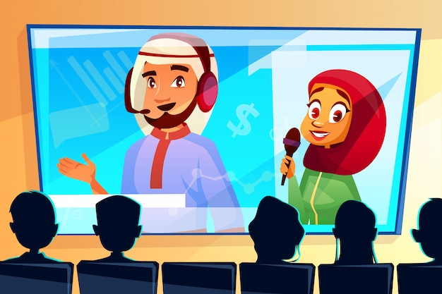 Muslim online conference illustration of man and woman in hijab on screen Free Vector