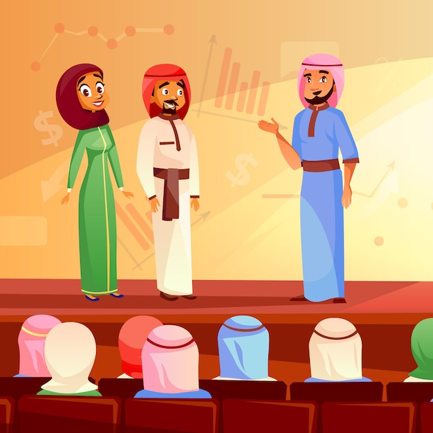 Muslim people at conference illustration of saudi arabian man and woman in khaliji and hijab Free Vector