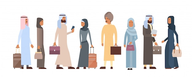 Muslim people crowd business man and woman traditional clothes arabic characters Premium Vector