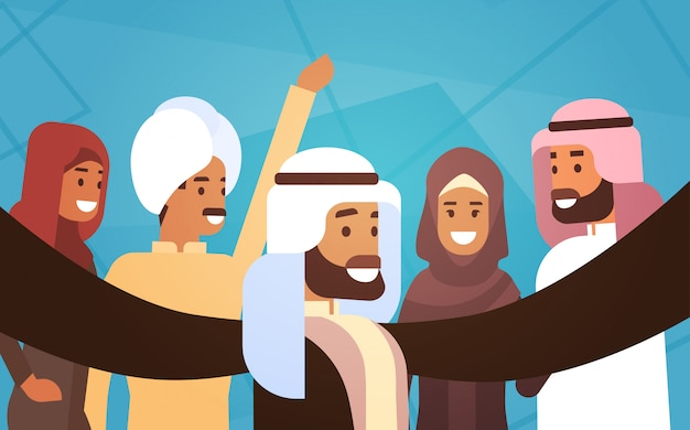Muslim people crown man and woman traditional clothes arabic characters Premium Vector