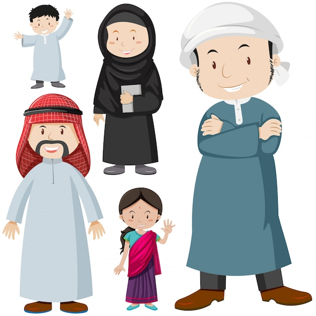 Muslim people in traditional costume illustration Vector ...