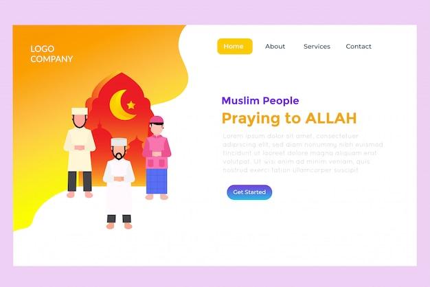 Muslim people praying landing page Premium Vector