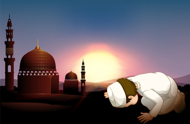 Muslim person praying at mosque Free Vector