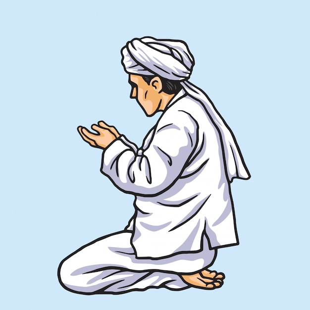 Muslim praying in ramadan kareem Premium Vector