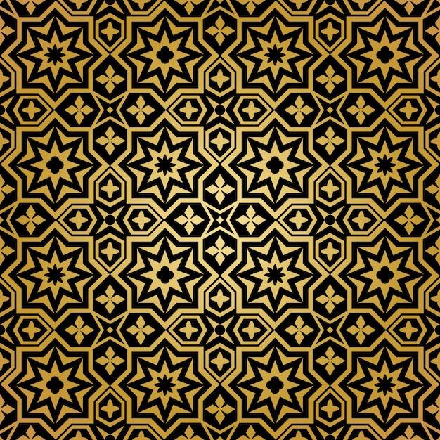 Мусульманский бесшовный образец. фоновый орнамент, исламский абстрактный дизайн, декоративные украшения, векторные иллюстрации Бесплатные векторы