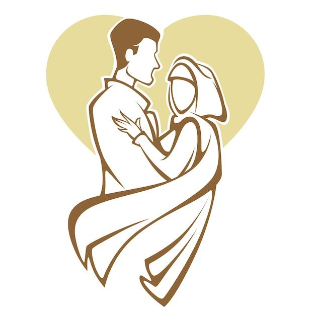 Muslim Wedding Bride And Groom Romantic Couple In Elegant Style Illustration Premium Vector