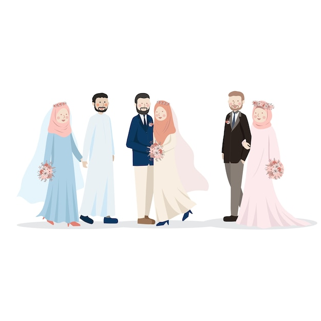 Muslim wedding couple cute cartoon character illustration Premium Vector