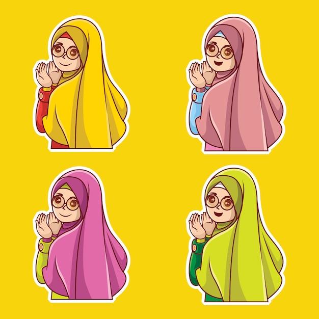 Muslim woman character cartoon premium vector Premium Vector