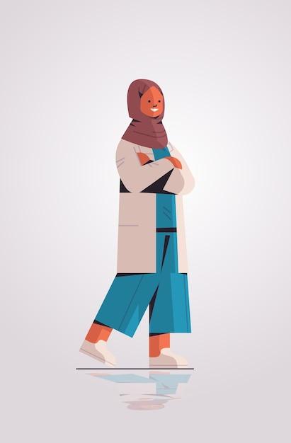 Muslim woman doctor in uniform arabic female medical professional standing pose medicine healthcare