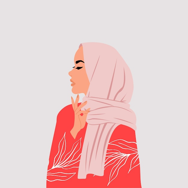 Muslim woman wearing hijab side profile with thinking hand pose. Premium Vector