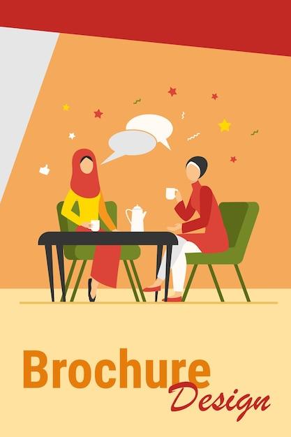 Donne musulmane che si incontrano nella caffetteria araba. amici femminili che indossano l'hijab che beve l'illustrazione piana di vettore del caffè. amicizia, concetto di comunicazione per banner, progettazione di siti web o pagina web di destinazione Vettore gratuito