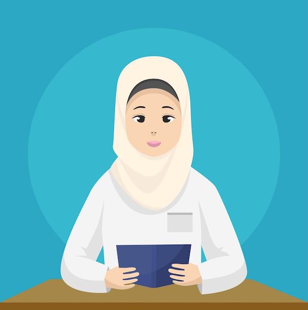 イスラム教徒の女性教師がヒジャーブを着て読書を教えています Premiumベクター