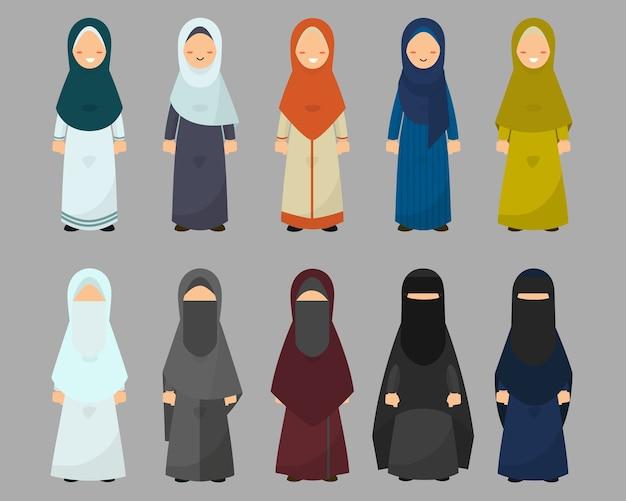 Muslim women with diverse dress styles set. Premium Vector