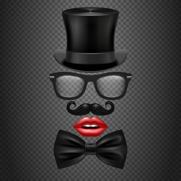 Mustache, bow tie, glasses, red girl lips and cylinder hat. realistic hipster photo booth Premium Vector