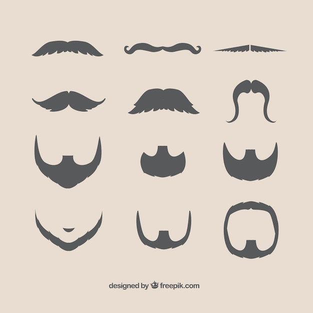 Mustaches and beards Free Vector