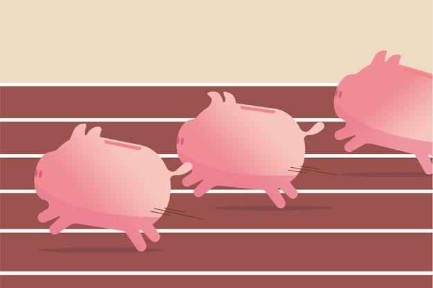 Паевые инвестиционные фонды, эффективность инвестиций в акции или сбережения, концепция бизнес-прибыли, розовые копилки, быстро бегущие к цели, они соревнуются на беговой дорожке, чтобы выиграть финансовую игру. Premium векторы