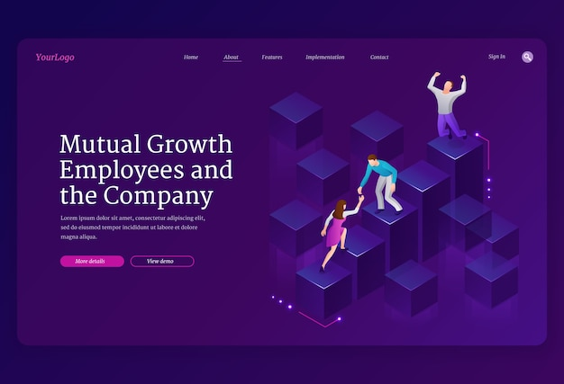 Mutual growth and assistance employees and company isometric landing page Free Vector