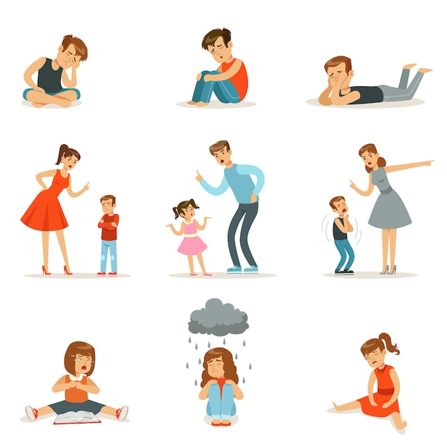Mutual relations of parents and children, mom and dad scream and scold their children, negative children emotions Premium Vector
