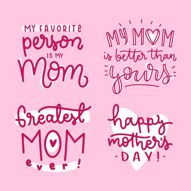 My favorite person is my mother hand drawn badge Free Vector