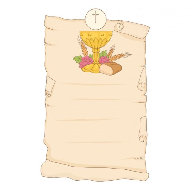 My first communion. invitation design Premium Vector