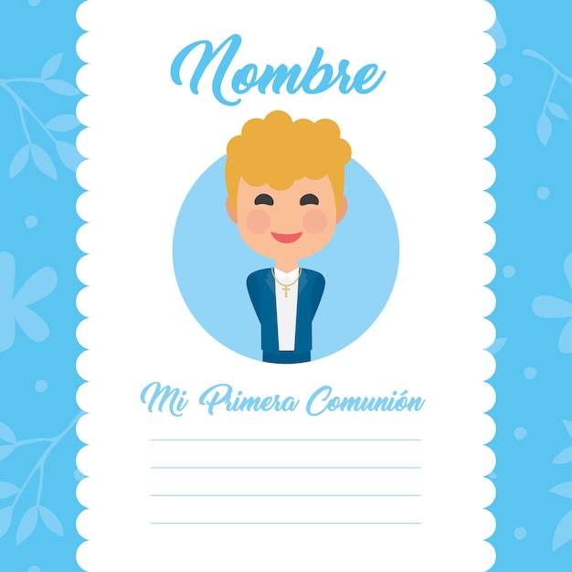 my first communion template boy design vector free download